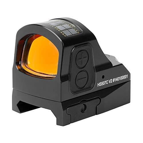 Holosun HS507C Offenes Reflexvisier Rotpunkt Visier mit wechselbarem 2MOA Punkt, 65MOA Kreis Absehen und Solarzelle, schwarz, Picatinny/Weaver Schiene, für die Jagd, Sportschießen und Softair, tactical open reflex red dot sight mini - 70128697