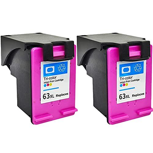 LYZH Cartuchos de tinta remanufacturados de repuesto para HP 63XL para usar con Deskjet: 1110 2130 3630 Envy:4510 4511 4520 Officejet: 3830 4650 5220 5230 5264 (2 unidades, 1 negro, 1Tri-Co C