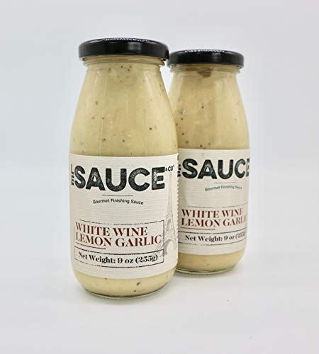 Le Sauce Gourmet Lemon White Wine Garlic Finishing Sauce, low sugar, great on chicken, vegetables, fish, foodie approved. Cream, butter, yum (2-Pack)