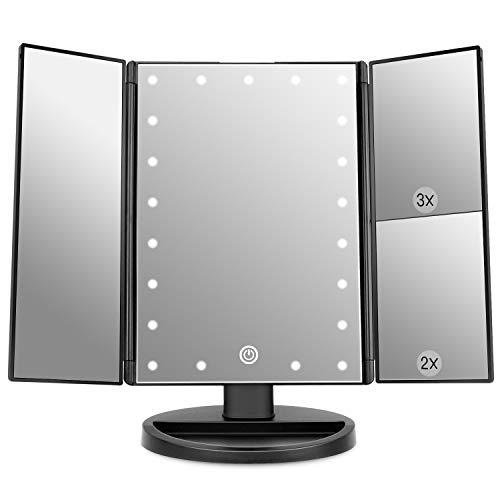 WEILY Specchio per Il Trucco con Luce, Specchio Cosmetico Triplo con Ingrandimento 2X/3X, 36 Luci a LED e Due modalità di Alimentazione Specchio Cosmetico da Tavolo(Nero)