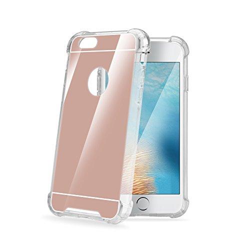 Celly Armor Mirror beschermhoes voor iPhone 7, achterkant met spiegel en frame van rubber, Roze.