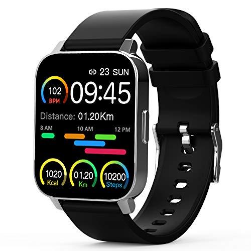 Smartwatch, 1.69Inch Reloj Inteligente, Pulsera Actividad con Fitness Tracker, Cronómetros, Calorías, Podómetro, Pulsómetro, Monitor de Sueño, IP67 Impermeable, Reloj de Fitness para Mujer Hombre Niño
