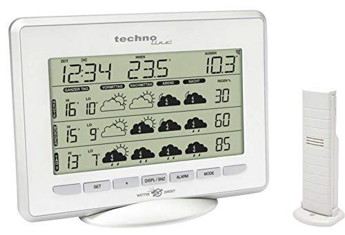 Technoline WD 1800 satellitengestützte Wetterstation mit Innen/Außentemperaturanzeige, Wettervorhersage für 5 Tage, inklusive mit Außensender TX 35-IT,silber-weiß, 11 x 22,3 x 17 cm