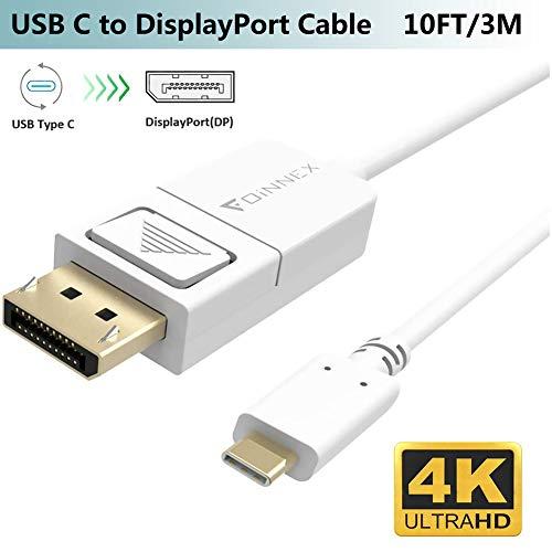 USB-C auf DisplayPort Kabel,3M,4K@60Hz, Thunderbolt 3 zu DP Adapter(USB Typ-C)für MacBook Pro 2018,iMac,Surface Pro7/Go/Book 2,Galaxy S10/S9/S8 Plus/Note 10/9/8,Chromebook Pixel,Dell zu TV/Monitor