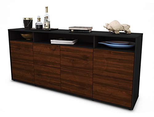 Stil.Zeit Sideboard Evita/Korpus anthrazit matt/Front Holz-Design Walnuss (180x79x35cm) Push-to-Open Technik