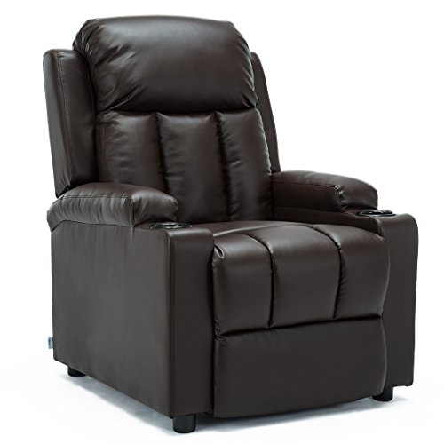 More4Homes STUDIO RECLINER w DRINK HOLDERS ARMCHAIR SOFA BONDED LEATHER CHAIR RECLINING CINEMA (Brown)