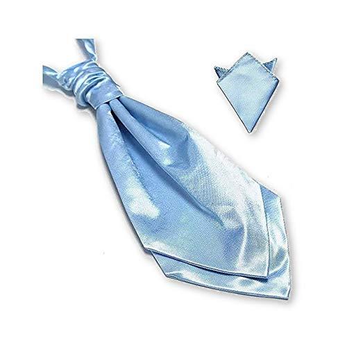 Cravate de mariage, lavallière homme bleu-ciel et pochette de costume assortie