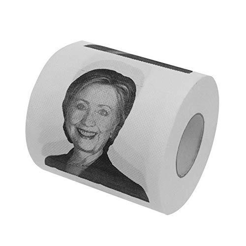 LASISZ Rotolo di Carta igienica Divertente Piccolo Donald Trump/Hillary Clinton Prank Rotolo di Carta igienica Scherzo Cartavelina Forniture per Feste a casa, Bianco