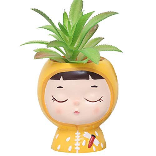 Leikance Macetero de vinilo para niños, diseño de dibujos animados, para suculentas, para escritorio, mini adorno de plantas