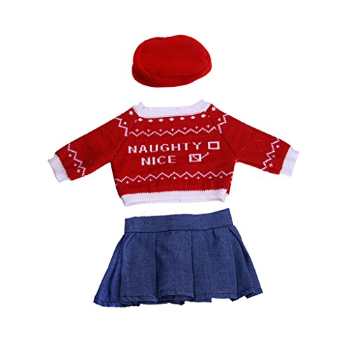 SunniMix Poppenkleertjes voor 18 Inch Amerikaanse Meisjespop - Trui + Spijkerjurk + Hoed