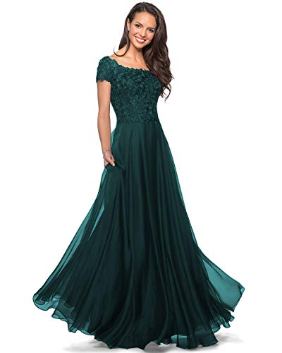 Noras dress Women's Lace Bodice Formal Dresses Long Chiffon Evening Gown Short Sleeve Mother of The Bride Dress Peacock 2