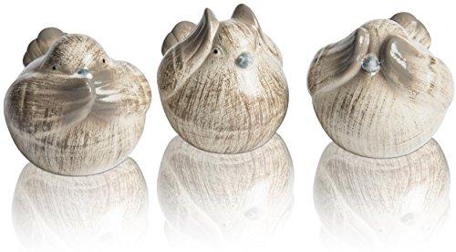 CHICCIE Figurines décoratives avec 3 Oiseaux et 3 Oiseaux 8 cm