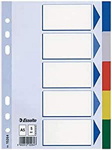 Esselte 15264 - Separadores para carpetas PP con cartulina índice color 5 pestañas DIN A5, Azul Claro