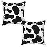 KING DARE Pack of 2 Cow Print Throw Pillow Covers Set for Home Decor, Modern Cotton Linen Pillow Case for Couch Bed Car 18x18