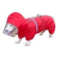ペット用 レインコート ポンチョ 防水 小型犬 中型犬 犬のポンチョ ペット用品 雨具 軽量 可愛 帽子付き(赤い色 L XL) (赤い色,M)
