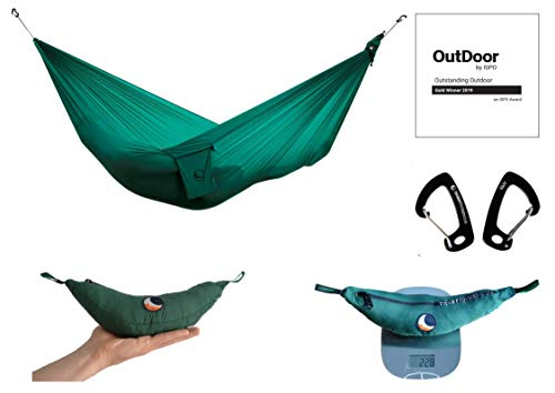"Ticket to the Moon Ultralight Fair Trade & handgemachte 228g ""Lightest-Hängematte"" Forest Green für Reisen, Camping und Alltag, 3,2 * 1,40m, Fallschirmseide, Set-Up < 1 min, Oeko-TEX® 10 J. Garantie"