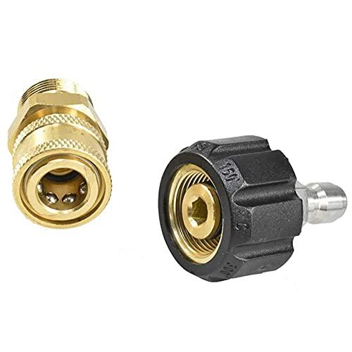 XIE Kit adaptador de lavadora de alta presión Kit de conexión rápida M22 cabeza macho, 14 mm, para conexión rápida de boquilla de liberación rápida de 3/8 pulgadas