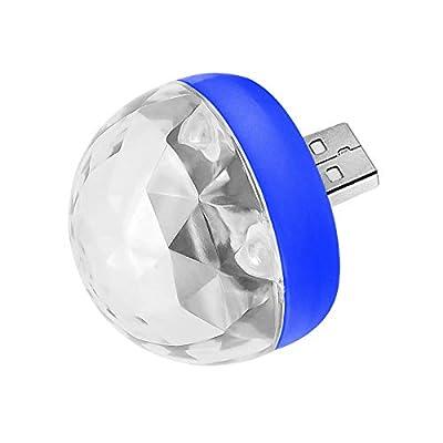 Mini Portable USB Stage Disco Lights,Magic Ball Light,USB Color Changing Light, Dj Lights Strobe Light,Magic Rotating Ball Glitter Stage Show Lights,USB Disco Ball LED Lights (blue apple adapter)