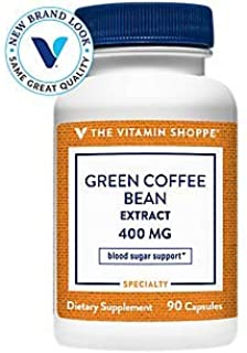 The Vitamin Shoppe Green Coffee Bean Extract 400MG (with 50 Chlorogenic Acid), Weight Management Support Glucose Metabolis...