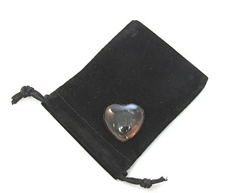 Zentron Crystal Collection 30MM All Natural Polished Pocket Gemstone Crystal Puff Heart and Velvet Pouch (Smoky Quartz)