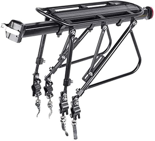 XJYXH Bicycle Rack Trasero, Equipo Universal Equipamiento de Carreras de Carga de Equipaje para Ciclismo para Ciclismo Largo Viaje (Color : Black, Size : 50X50x14cm)
