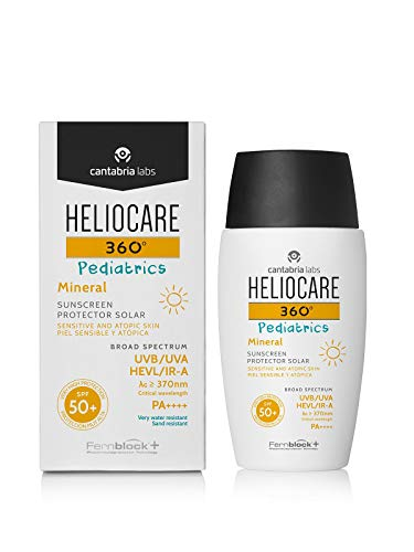Heliocare 360° Pediatrics Mineral - 50ml | Fluid Lotion for Face & Body | SPF UVA UVB Visible Light Infrared-A Sun Protection | for Kids Sensitive Skin | Features Niacinamide | 100% Mineral Filters