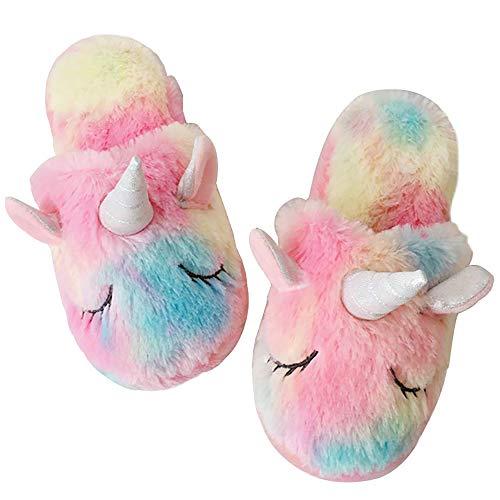 TYONMUJO Kids Unicorn Fuzzy Slippers with Anti-Slip Soles for Boys Girls