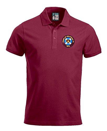 Old School Football Heart of Midlothian 1950's Jahre Fußball Polo Größen S-XXXL gesticktes Logo - Kastanienbraun, Large