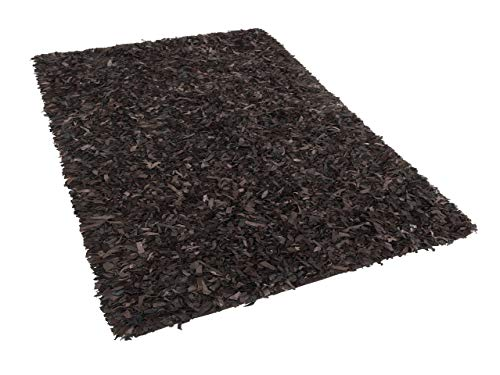 Beliani Gemütlicher Teppich Shaggy Echtleder 160x230 cm braun Mut