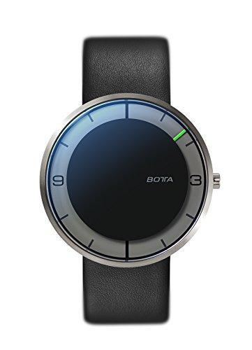 BOTTA Design NOVA Titan Unisex-Einzeigeruhr Analog Schweizer Quarzwerk mit Lederarmband 570000 (40 mm, Schwarz)