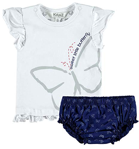 Kanz Mädchen Baby Kindermode-Set T-Shirt & Shorts Happy Butterfly - Schmetterling, Weiß-Blau, Gr. 74 (74)