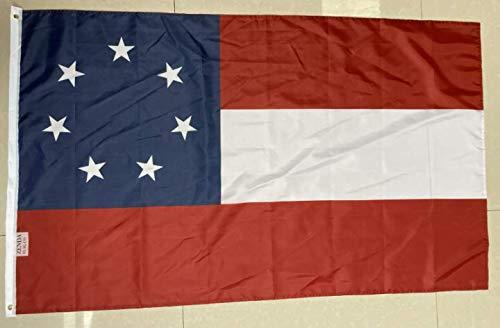 "Zenda 3x5 FT Civil WAR 1ST National 7 Star Flag""Stars and Bars"" CSA Banner"