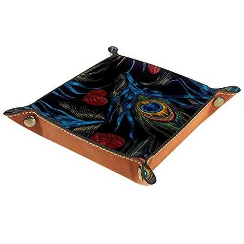 rogueDIV Bandeja plegable de cuero de la PU para el reloj de la joyería del almacenamiento del sostenedor negro rojo de la pluma del pavo real amorosa 6.2 x 6.2 pulgadas