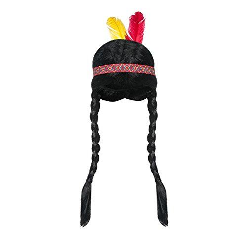 Kostümplanet Indianer Perücke Damen geflochtene Zöpfe mit Stirnband und Federn Kopfschmuck