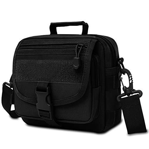 Lotisie Bolso Bandolera Hombre Pequeñas Bolsos de Oxford Messenger Bag para Colegio Bolsa de Lona Universidad Libro Bolsos Originales Bolsas de Viaje Sport Bag, Negro