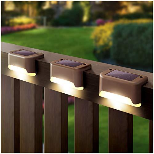 DenicMic - 3 luces solares para poste de valla para patio, piscina, escaleras, camino, luces LED impermeables para cubierta, luces solares para exteriores (blanco cálido)