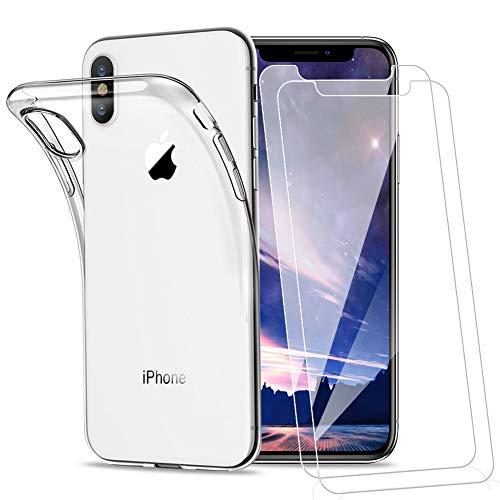 Amonke Funda para iPhone X iPhone Xs Silicona Transparente TPU + 2 Pcs Protector de Pantalla para iPhone X iPhone Xs Cristal Templado