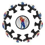 Dony Jugador de baloncesto con tirador de bola, manijas de gabinete y tiradores de cajón para gabinetes de cocina, cajones, gabinetes y accesorios para decoración del hogar (12 paquetes)