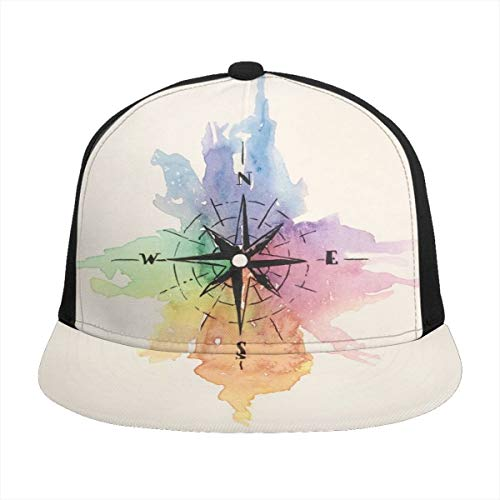 Fondilver Regenbogen-Kompass, antikes Roma, Unisex, Jugendliche, 3D-Bedruckt, verstellbar, Baseballkappe, Trucker, Hüte, Hip Hop, Sonnenschutz für Herren, Damen, Jungen, Mädchen