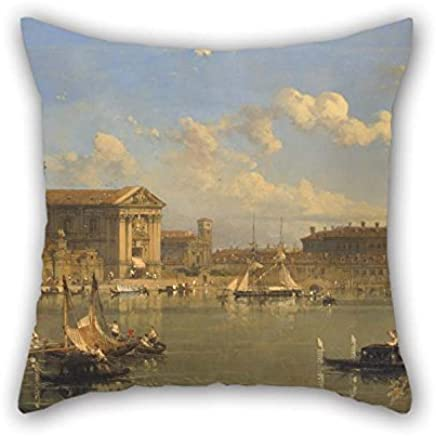 Oil Painting David Roberts - The Giudecca, Venice Throw Pillow Covers 16 X 16 Inches / 40 by 40 Cm Best Choice For Bar Family Home Play Room Home Office Couples with 2 Sides