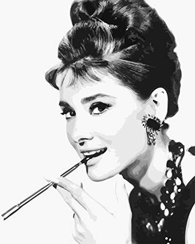 yaonuli Hepburn charmante Hepburn Figur DIY Malerei Digitale Wandkunst Malerei Dekoration Acrylmalerei 40x50cmRahmenlos