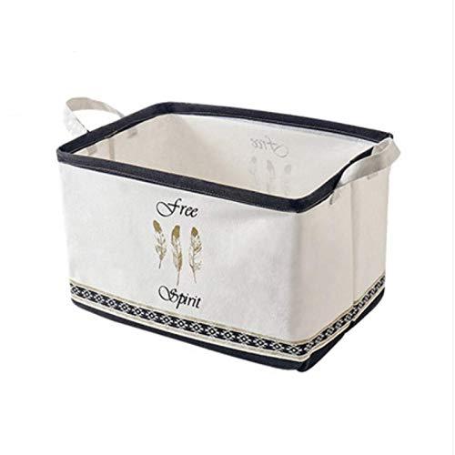 Caja de almacenamiento Tela Caja de almacenamiento plegable de algodón, lino a prueba de polvo e impermeable Caja de almacenamiento de ropa Ropa de almacenamiento de vestimenta Juguetes 39x36x34.5cm C