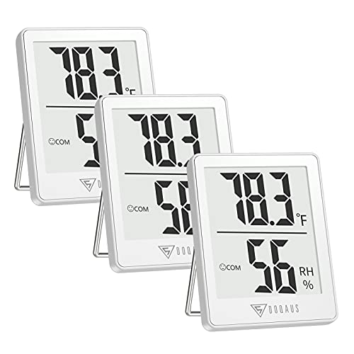 DOQAUS Indoor Thermometer [3 Packs], Humidity Gauge Room Thermometer for Home, Digital Hygrometer, Accurate Temperature Humidity Monitor Meter for House, Office, Greenhouse, Home White (2.3X1.8inch)