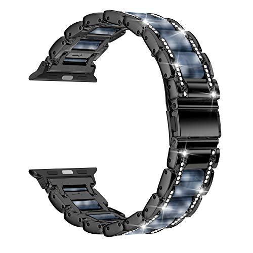 Moolia Metal Strap Band Compatible with Apple Watch Band 38mm 40mm Womens Men Rhinestones Resin Metal Wristband Bracelet Replacement for iWatch Series 6 5 4 3 2 1 Black + Dark Blue