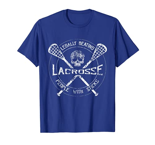 Lacrosse: Legally Beating People With Sticks-Funny Design T-Shirt