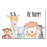 FBXSLH Póster De Lienzo Animales Be Happy Brave Nursery Room Lienzo León Elefante Jirafa Cebra Monkey Cuadro De Pared Niños Bebé Decoración 40 * 60Cm Sin Marco