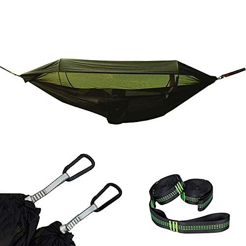 COJJ Camping HAMPOTE, Paño de paracaídas Sombrilla de Tela con Hamaca Neta Individual Outdoor Double Double Off The Ground Tienda aérea, 250x120cm (Ejército Verde)