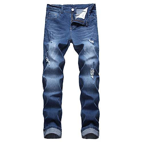 U/A Jeans Hombres Agujeros Pantalones elásticos Negros Marea de Jeans Ligeros de Gran tamaño Europeos y Americanos