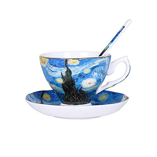 eaz Taza de café de cerámica de porcelana de hueso, pinturas Van Gogh, 200 ml, tazas de café y platillos divertidos tazas de café (color: noche estrellada)