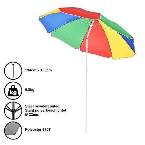 [casa.pro] Strandschirm Sonnenschirm Schirm Gartenschirm Strand Bunt / 164x140cm / 0,6kg / Stahl/Polyester 170T